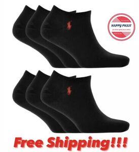 NWT POLO RALPH LAUREN 6 Pairs Size 6-12.5 Black No Show Socks Red Pony Logo