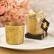 24 gold glitter candle votive wedding favors Bridal Shower Favor
