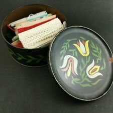 Vintage Sewing Trim Notions in Guildcraft Tin Black Dutch Tulips 40's Painted