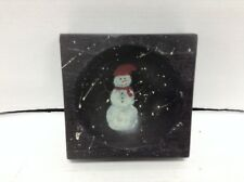 Pottery Barn Sumatra Antique wood Bowl Painted Candle Holder snowman office tray