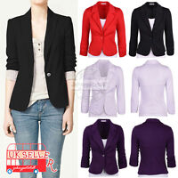 UK Womens Crop Frill Shift Slim Fit Blazer Ladies Peplum Jacket Coat Plus Size