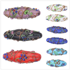 43mm Lampwork Glass Handmade Flower Spacer Making Beads Jewelry Findings Bead