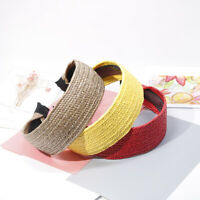 Women Headband Hairband Straw Braided Knot Hair Band Hair Accessories