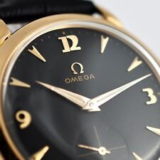 AUTHENTIC OMEGA 18K SOLID GOLD MANUAL WIND NICE BLACK DIAL VINTAGE GENTS WATCH