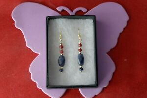 Beautiful Gold Plated Earrings With Sapphire & Ruby 2.9 Gr. 4 Cm. Long + Hooks