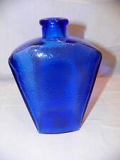 Cobalt Blue Decanter Vase Bottle Collectible Textured Home Decor