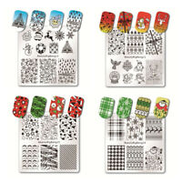 2PCS 6*6cm Christmas Nail Art Stamping Plate Stamp Template Image Plate Stencils