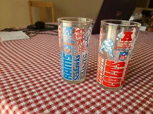 """2 1976 Welch's Jelly AFC Eastern/NFC Western Division 5"""" Drinking Glass NFL"""