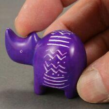 Itty bitty soapstone rhino - Purple - Hand carved in Kenya - Rhinoceros.