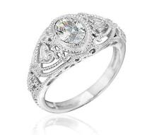Art Deco Vintage Inspired Oval CZ Filigree Ring Sterling Silver Size 7