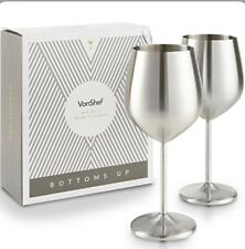 VonShef Stainless Steel Stem Wine Glasses Shatterproof Set Of 2 Glass |