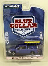 Greenlight escala 1/64 Ford F-150 con estante escalera Azul Coche Modelo Diecast