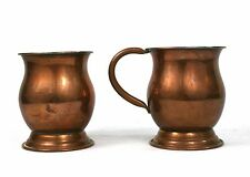 Vintage Copper Tankards 1/2 Pint Pair Tin Lined