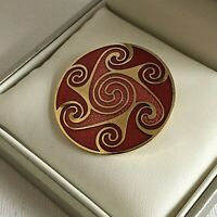 Vintage Celtic Sea Gems Design Brooch Cloisonne Enamel Pink Red Pink Gold Circle