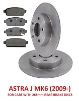 VAUXHALL ASTRA J MK6 09- 1.2 1.4 1.6 1.7 2.0 CDTi REAR BRAKE DISCS AND PADS SET