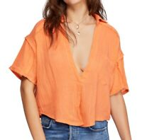 Free People Womens Top Orange Small S Gauze V-Neck Collar Button Down $88 622