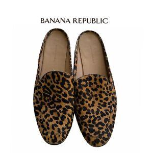 Banana Republic Leopard Print Mens size 11 Mule Slide In Slip On Shoes Faux Fur
