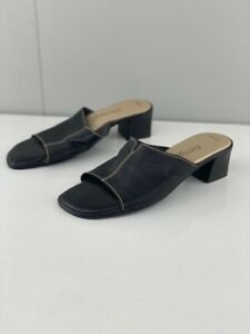 Easy Steps Womens Jamison Black Leather Slip On Sandals Block Heel Size 6.5 C