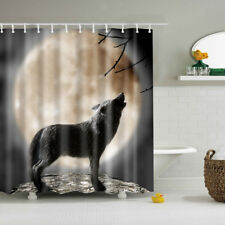 WATER REPELANT BATHROOM SHOWER CURTAIN Polyester Fabric Curtain Moon Wolf