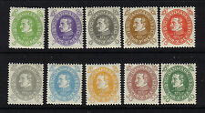 DENMARK 1930 CHRISTIAN X MINT COMPLETE SET OF 10 LMM VERY LIGHTLY MOUNTED
