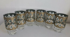 6 CULVER HIGHBALL GLASSES CUV30 GLASSES GOLD GREEN MID MODERN HTF