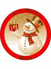 """Novelty Personalised Christmas Snowman (1) 7.5"""" Edible Wafer Paper Cake Topper"""
