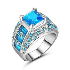 Percious Size 9 Aquamarine Fantastic 18K white Gold Filled Wedding  Womens Ring