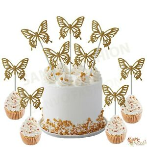 GOLDEN BUTTERFLY CAKE/CUPCAKE TOPPERS WEDDING BIRTHDAY BABYSHOWER CAKE TOPPERS