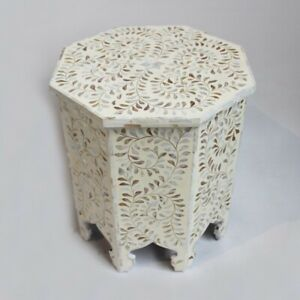 Made to Order Indian Handmade Camel Bone Inlay Hexagonal Side Table White Floral