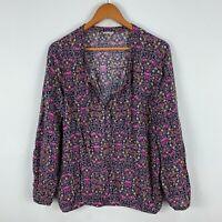 Esprit Womens Tunic Top Large Multicoloured Floral Long Sleeve V-Neck Boho