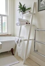 Bathroom Storage Shelf, Ladder Shelf with 2 Storage Shelves &1 Removable Laun...