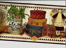 COUNTRY BOXES ANGEL CANDLE BUCKET  LAMP APPLES ON SHELF WALLPAPER BORDER FP00501