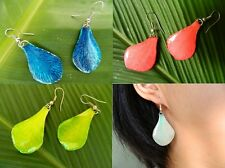 NEW ONG REAL Petal ORCHID Earring Jewelry 925 Sterling Hook Drop