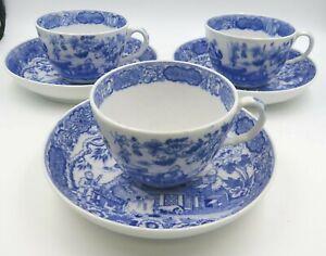Set of 3 Antique Blue & White Transfer-Printer Cups & Saucers Eastern Design