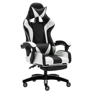 Gaming Chair Highback Swivel Ergonomic Leather Racing Office Adjust Black/white
