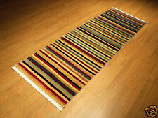 2.6 x 7.6 Handmade Very Fine Vegetable Dye Soft Silky Wool Afghan Gabeh Runner