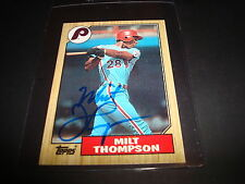 1987 TOPPS # 409 MILT THOMPSON PHILLIES Cardinals SIGNED AUTOGRAPH CARD