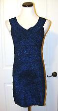 Celebrity Royal Blue Glitter Sparkly Metallic Bandage Bodycon Dress
