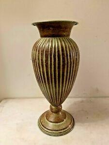 Tin depressed Green/ Brown Decorative Trumpet Mouth Vase