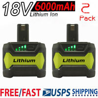 2PCS For P108 Ryobi 18Volt 18V One+ Plus Lithium Ion High Capacity Battery 6.0Ah