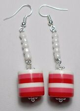 white acrylic bead 65mm drop Dangle earrings - Pink +