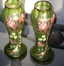 FRANCE PAIR ART DECO GLASS VASE ANTIQUE MANTEL GOLD ROSE ENAMELED PANELED PONTIL