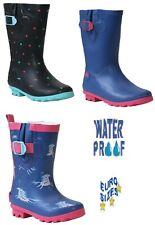 New Girls Kids Snow Mud Rain Wellies Waterproof Wellington Infants Boots Shoe UK
