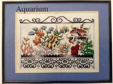 Aquarium counted cross stitch magazine pattern, fabric & floss lot