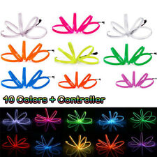 New EL Wire Neon Glow Rope Tube Strip Light Car Dance Party + Controller
