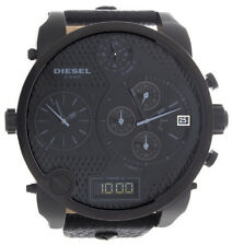 Diesel Mens Black Dial Black Leather Strap 4 Time Zone Watch DZ7193 57mm