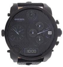 Diesel Mens Black Dial Black Leather Strap 4 Time Zone Watch DZ-7193 57mm