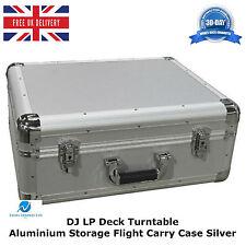2 X DJ LP Deck Turntable Aluminium Storage Flight Carry Case Silver Light Weight