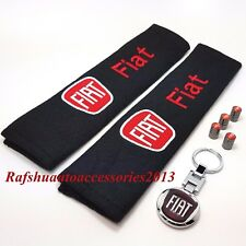 Fiat Key Ring + Seat belt cover pads + Tyre valve dust caps Punto panda 500