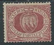 1894-99 SAN MARINO STEMMA 10 CENT MH * - M18-6